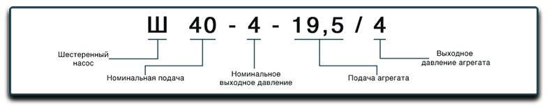 Маркировка масляных шестеренных насосов Ш40, Ш 40-4-19,5/4