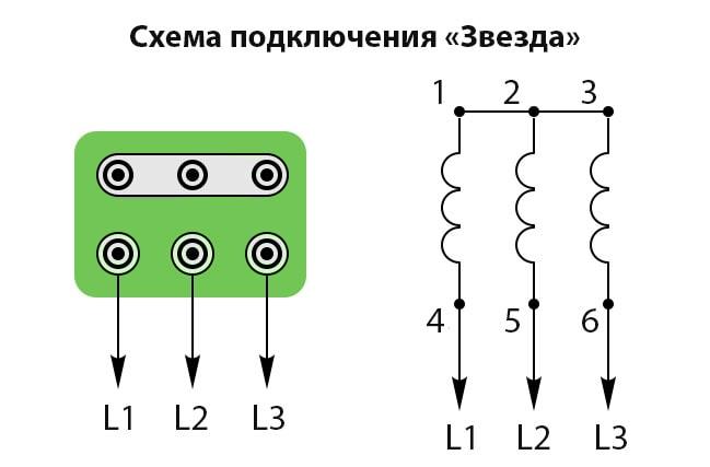 схема подключения трехфазного асинхронного электродвигателя звезда