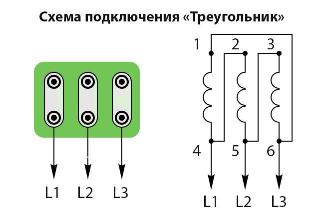 схема подключения асинхронного электродвигателя треугольник