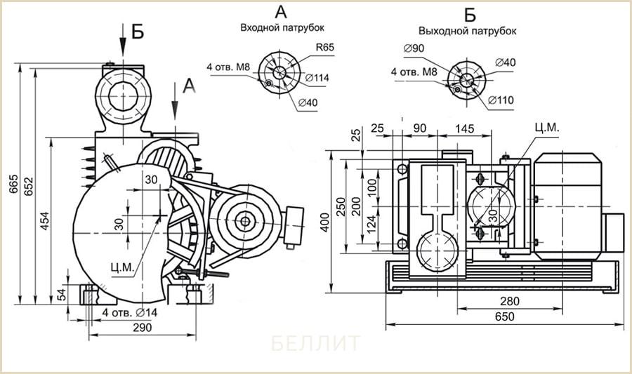Чертеж плунженрного вакуумного насоса авз-20д от производителя