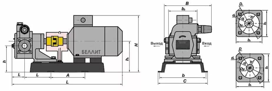 Чертеж насоса НМШ 5-25 габаритные размеры патрубков размеры мм